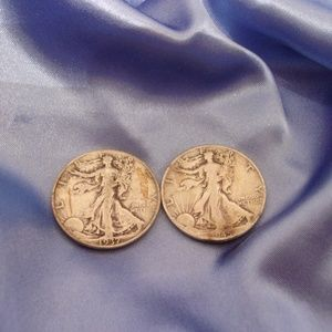 Two Liberty Silver Half Dollars 1935 & 1945